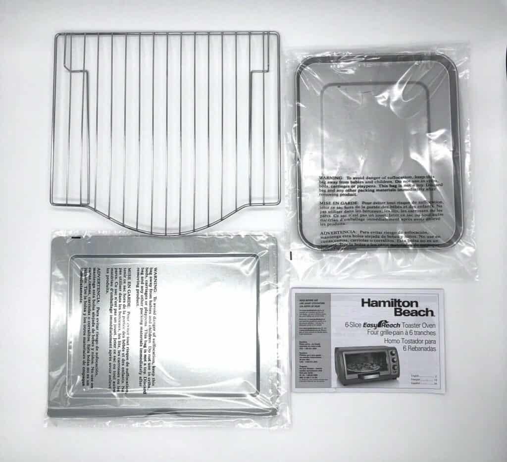 Hamilton Beach Easy Reach 6 Slice Toaster Oven accessories