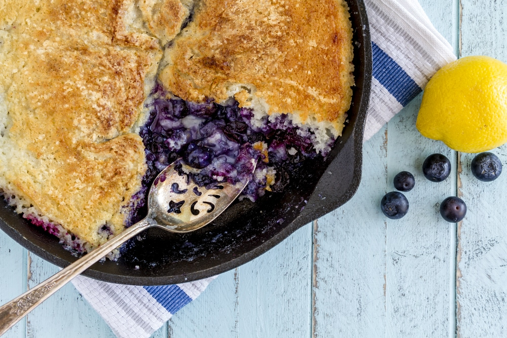 Blueberry cake on cast iron skillet