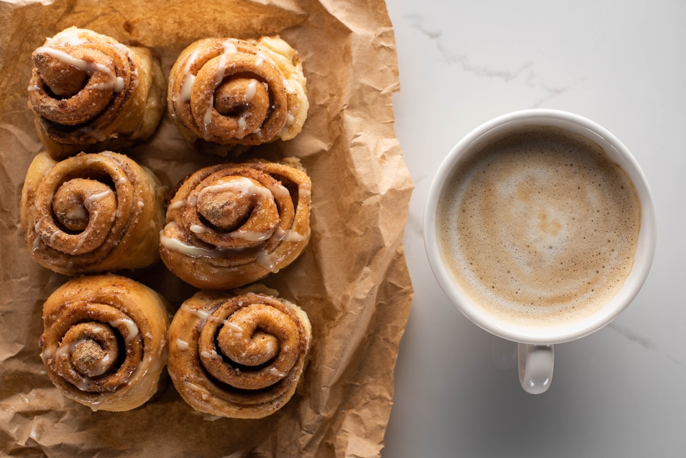 Cinnamon Buns from Toaster Oven on Parchment Paper