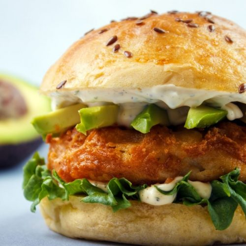 Shrimp Avocado Burger