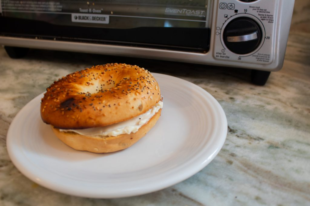 bagel from to1313sbd with cream cheese