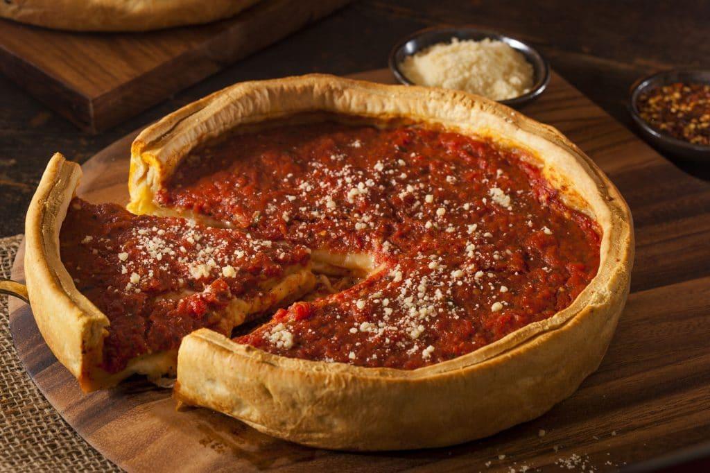 Deep-dish Chicago pizza